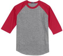 Gray and Red quarter-sleeve raglan t-shirt
