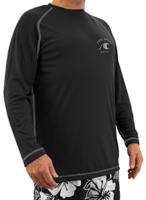 Black long-sleeve raglan swim shirt