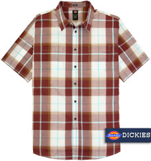 Burgundy plaid short-sleeve shirt by Dickies