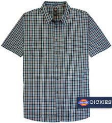 Navy checks plaid short-sleeve shirt by Dickies