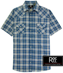 ROCXL Blue Western Plaid shirt