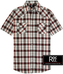 ROCXL Burgundy Western Plaid shirt