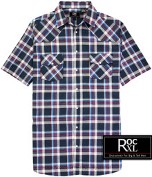 ROCXL Navy Western Plaid shirt
