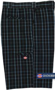 Black plaid casual shorts