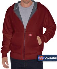 burgundy thermal lined fleece hoodie by dickies
