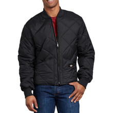 Black quilted nylon zip jacket by Dickies