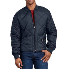 Navy quilted nylon zip jacket by Dickies