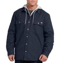 Navy canvas hooded shirt jacket