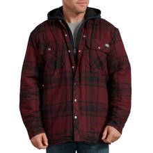 Burgundy Plaid hooded puffy zip jacket by Dickies