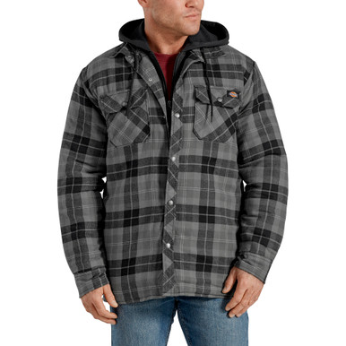 Charcoal Plaid hooded puffy zip jacket by Dickies