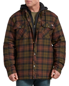 Dickies Plaid Quilt-Lined hooded Jacket in moss green/brown plaids