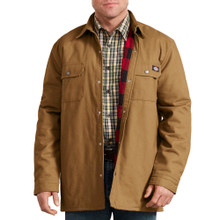 Brown heavy shirt jacket with warm fleece lining by Dickies