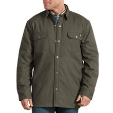 Green heavy shirt jacket with plaid fleece lining by Dickies