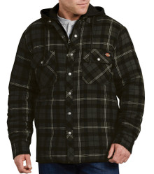 Dickies Puffy Plaid Jacket Dark Gray Charcoal