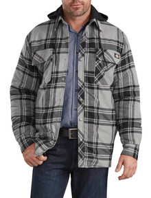 Dickies Hooded Plaid Shirt Jacket Quilted Lining SMOKE/Black 3XL4XL 5XL #667D