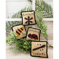 Mini Pillows Bugs Insects Country Primitive Garden