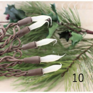 String Lights 10 White Silicone Tipped Bulbs Brown Cord