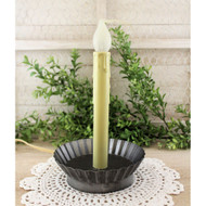Pewter-Look Pan Candle Lamp