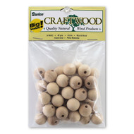 16mm Round Wooden Drilled Beads