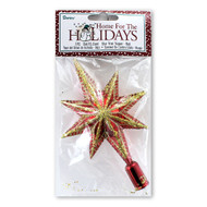 Red Metallic Gold Glitter Tree Topper Star