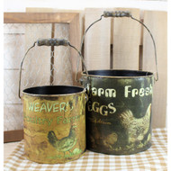 Bucket Set Chickens Eggs Farmhouse Decor