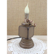 Tan Wooden Spindle Candle Lamp