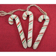 Primitive Wooden Candy Cane Ornaments