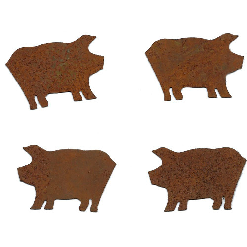 Rusty Tin Small Pig Shapes