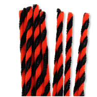 Orange and Black Twist Halloween Chenille Stems