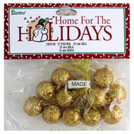 15mm Gold Glitter Miniature Ball Ornaments