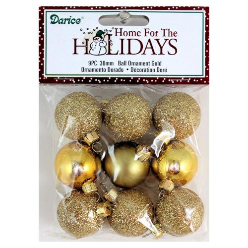 30mm Miniature Gold Glitter Ball Ornaments
