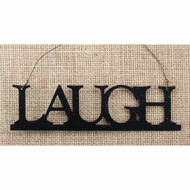 Tin Word Ornament Laugh