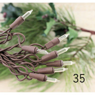 String Lights 35 Clear Bulbs Brown Cord