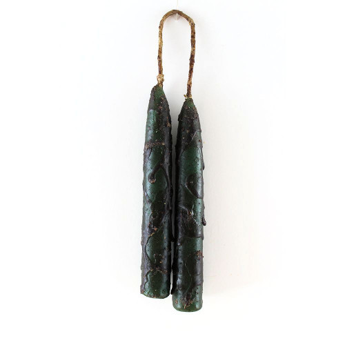 Grungy Green Waxed-Dripped Hanging Taper Candles