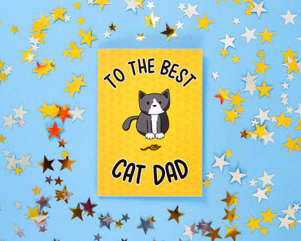 Fathers Day Greetings Card Best Cat Dad Doodlecats Shop