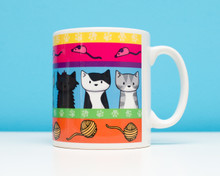Colourful Cat Pattern Mug