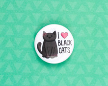 I Love Black Cats - button badge