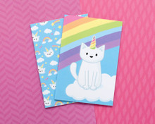 Set of Two Unicorn Cat  Notebooks - A6 Lined