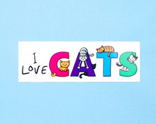 I Love Cats - Window Cling