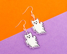 Ghost Cat Earrings - Halloween