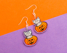 Pumpkin Cat Earrings - Halloween