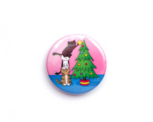 Christmas Tree Cats - button badge