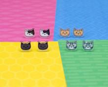 Cute Cat Stud Earrings - Sterling Silver