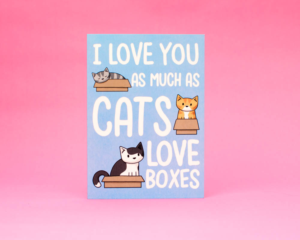 I Love You As Much As Cats Love Boxes - Greetings Card - Valentine's Day