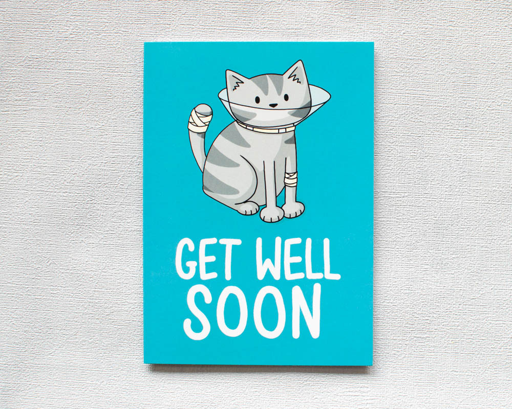 Get Well Soon Cone Greetings Card Doodlecats Shop