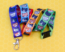 Rainbow Cats - Lanyard - Optional Safety Clip