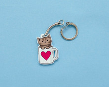 Coffee Mug Cat - Key Ring