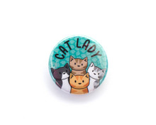 Cat Lady - button badge