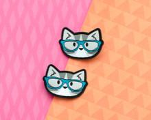 Nerd Cat Hair Clips - Pair