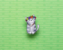 Flower Power Cat - Acrylic Pin